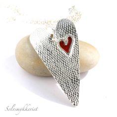 Anita Schultze sterling heart with enamel