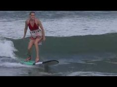 girls surfing in high heels 1