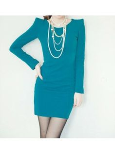 Long Sleeve Green Work Dress