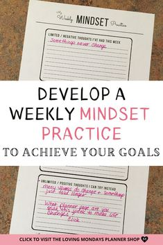 Develop a growth mindset with this awesome planner page. Click to see this planner page as well as 29 others in the Perfect Weekly Planner. #growthmindset #plannerpage #weeklyplanner Planner Pages, Weekly Planner, Printable Planner, Printables, Types Of Planners, Change Your Mindset, Thought Process, Planner Organization, Coping Skills