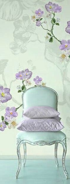 Best Inspiring Scandinavian Design & Decor for Room in Your Home Lavender Room, Lavender Cottage, Green And Purple, Pink Blue, Mint Green, Lilac Bedroom, Mint Decor, Shabby Chic Cottage, Romantic Cottage