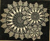 Doilies in 3 sizes = One ball each of white, rose, black and gray is sufficient thread; use a size 8 or 9 steel crochet hook.