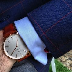Navy suit with the watch.