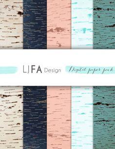 Wood print digital papers Aspen bark by LJFADesign on Etsy