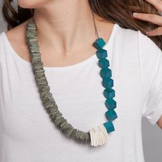 Turquoise and Gray Asymmetric Wood Necklace