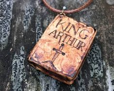 King Arthur Book Pendant  - wooden pendant for book lovers with pyrography - wooden book necklace, mini book, wood jewelry, wooden pendant
