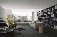POLIFORM: Ventura Lounge armchair, Soori table, Dama coffee table, Bolton sofa and Wall System bookcase
