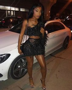 Cute Birthday Party Outfits For Black Girls on Stylevore Sexy Outfits, Cute Party Outfits, Clubbing Outfits, Club Outfits, Girl Outfits, Fashion Outfits, Black Girls Outfits, All Black Outfit For Party, Fashion Clothes