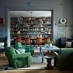 See all our stylish living room ideas. The living room and library-cum-dining room of the Ett Hem hotel in Stockholm, designed by Ilse Crawford truly is a thing of beauty. Interior Design Inspiration, Room Inspiration, Design Ideas, Living Room Interior, Living Room Decor, Living Room Designs, Living Spaces, Home Modern, Interior Exterior