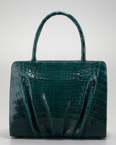 Crocodile Ruched Small Tote Bag by Nancy Gonzalez at Neiman Marcus.