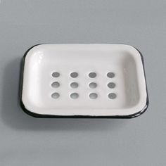 soap dishes | This classic enamel soap dish comes in two parts. The top has holes ...