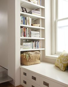 Front To Back Bookshelf In Narrow Space At End Of Window Seat Dramatically Increases Storage