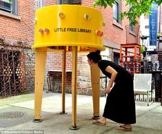 Perfect for Borrowers: World's smallest library pops up on New York sidewalk with just 40 books Little Free Library in Nolita neighbourhood lends collection of books out Innovative structure was made from recycled water tank (I want to have one of these libraries some day)