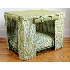 "Amazon.com: Damask Dog Crate Cover - Large: 36""L x 24""W x 26""H (BEIGE TAN): Pet Supplies"