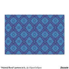 """Palatial floral"" pattern in blue colors 10"" X 15"" Tissue Paper#blue, #navy+blue, #dark+blue, #royal+blue, #cerulean, #azure, #cobalt, #ultramarine, #lapis, #cornflower,  #floral, #flower, #pattern, #bohemian, #pattern, #ornament, #ornamental, #flourishing, #blooming, #bloom,#decorative, #trendy, #70s, #arabesque, #damask, #eastern, #luxurious, #palatial,  #plush, #saturated, #colorful, #seamless, #vintage, #design, #motif, #medallion, #tissue, #paper, #craft,"