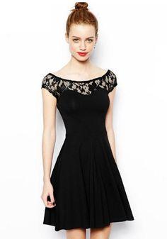 Black Patchwork Lace Dress. #simple #elegance