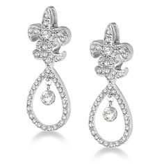 Fleur De Lis Dangling Drop Diamond Earrings 14k White Gold (0.25ct)
