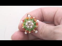 Beaded earring tutorial: earrings made using beads, donuts, crystal and a handmade hook - YouTube