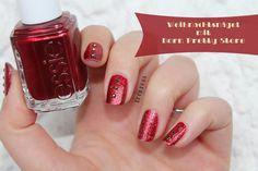 Shimmer Red Rhinestone Christmas Nails: http://treurosa.blogspot.de/2014/12/christmas-naildesign-born-pretty-store.html