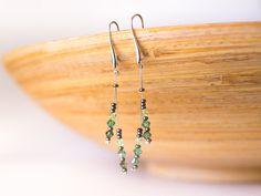 Green Swarovski crystal earrings – green Swarovski earrings, elegant silver plated findings long earrings –  Swarovski jewellery
