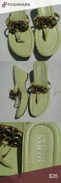 """Franco Sarto Thong Sandals Green Size 7 Very good, clean condition. Genuine leather upper.  Approx 3"""" wedge heel. Such a nice pair! Franco Sarto Shoes Sandals"""