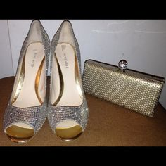 Nine West peep toe glitter heels Sz 10 & new bag Great for prom or wedding. Heels worn once for a ball. Comes with new matching purse from Nordstrom. These come as a bundle. Nine West Shoes Heels