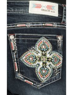 Grace in LA Women's Dark Wash with Multi Colored Cross Embroidery Open Pocket Boot Cut Jeans | Cavender's