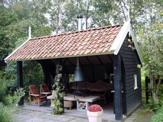 Kapschuurtje Wooden Gazebo, Gazebo Pergola, Bbq Hut, Porch Veranda, Outside Room, Garden Cabins, Garden Structures, Love Garden, Outdoor Gardens