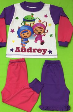 """Team Umizoomi, 3 Piece Set Girl Pajamas - Personalized PJs Made of 100% Import cotton.Handmade in U.S.A from """"Fantasy Kids"""" by FantasyKidsDesigns on Etsy https://www.etsy.com/listing/238390582/team-umizoomi-3-piece-set-girl-pajamas"""