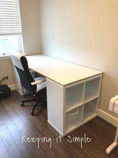 Ikea Hack- DIY Computer Desk with Kallax Shelves – Home Office Design Diy Ikea Kallax Desk, Kallax Shelf, Desk Shelves, Ikea Hack Desk, Ikea Office Hack, Kallax Hack, Office Hacks, Diy Storage Desk, Diy Desk