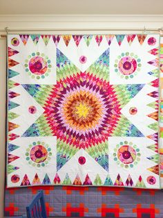 Lone Star quilt, made from Kaffe Fassett fabric.