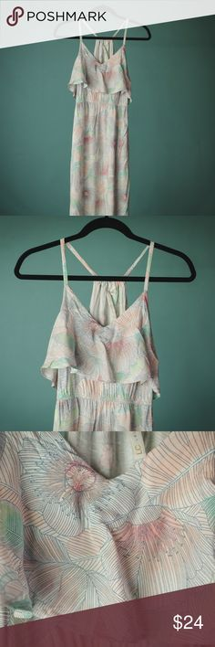 Lauren Conrad XS Pastel Floral Maxi Dress Lauren Conrad XS Pastel Floral Maxi Dress With Side Slit  Size XS 100% rayon Excellent condition with no known flaws.  Comes from a smoke and animal free home.   Measurements are approximate:  Arm pit to arm pit- 17 inches  Shoulder to hem- 55 inches  Waist (not stretched)- 12.25 inches  #149 LC Lauren Conrad Dresses Maxi