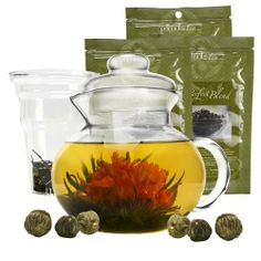 Primula Half-Moon Teapot for Flowering Tea Set – Wide Mouthed Temperature Safe Glass 40 oz. Clear with Black Accents Includes 3 Teas - Dishwasher Product Features TEA BREWING IN GLASS - Crafted from temperature safe borosilicate glass, our Half-Moon Teapot is the perfect choice for tea lovers.