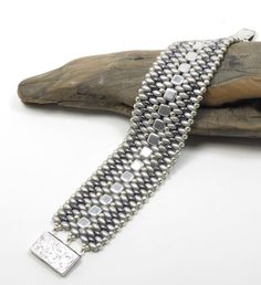 SILVER SUPER DUO Czechmates Tile Cuff by CinfulBeadCreations