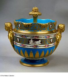 Sevres ice-cream coolers from the service for Catherine II of Russia. The urn-shaped bucket has handles formed by caryatid figures with scrolling shoulders emerging from pilasters. Decorated with a turquoise-blue ground and upper frieze of gilded scrolls. - from The #Wallace Collection, #London.