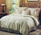 Raymond Waites Damask Jacquard Windham Queen Comforter Set Ivory Gold
