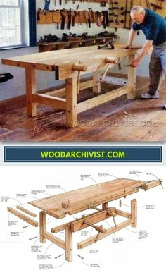 Heavy Duty Workbench Plans - Workshop Solutions Projects, Tips and Tricks - Woodwork, Woodworking, Woodworking Plans, Woodworking Projects Woodworking Shop Layout, Woodworking Bench, Woodworking Projects, Workshop Bench, Wood Workshop, Garage Workshop, Furniture Fix, Wood Joinery, Shop House Plans