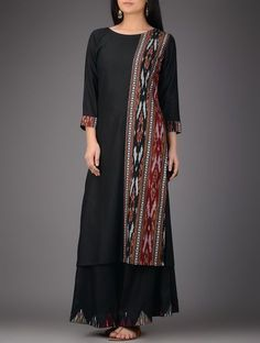Buy Black Red Ivory Ikat Cotton Silk Kurta Women Kurtas Sutra dresses overlays and more Online at Jaypore.com