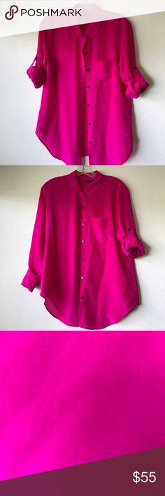 Silk Madewell blouse hot pink Such a gorgeous shade of pink / fuchsia. It's too big for me, but when worn I got tons of compliments on the color. Needs a good home. These photos don't do it justice. 😊 Purchashed at Madewell in 2012 and the label is Broadway & Broome. Find it on Pinterest. Madewell Tops Button Down Shirts