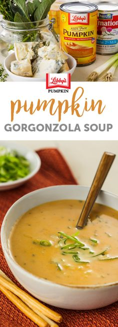 You'll love the flavors and colors of this delicious Pumpkin and Gorgonzola Soup. Ready in less than 30 minutes, this is a great choice for entertaining or to Libby's Pumpkin, Pumpkin Dessert, Soup Recipes, Dessert Recipes, Healthy Recipes, Savory Pumpkin Recipes, Holiday Recipes, Holiday Foods, Keto Soup