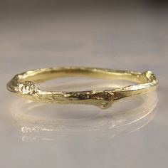 10k Gold Twig Band Gold Wedding Band 10k Yellow by JanishJewels