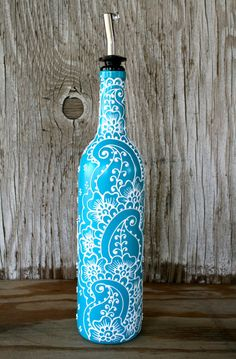 Items similar to Hand Painted Wine bottle Olive Oil Pourer, Turquoise and White, Vibrant Henna style design, Olive Oil Dispenser on Etsy Wine Bottle Vases, Painted Wine Bottles, Diy Bottle, Wine Bottle Crafts, Bottles And Jars, Jar Crafts, Glass Bottles, Olive Oil Dispenser, Henna Style