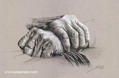 """""""Mano sobre mano"""" Lápiz y creta blanca sobre papel"""