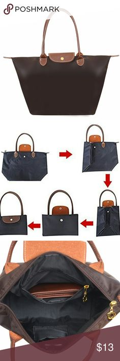 """Nylon Tote Bag Coffee Features: reusable, folding, waterproof, Shopping Bag Made of high quality nylon and pu leather,well sewn craftsmanship..   The interior features one main pocket,one slip pocket and one opened pocket.  Large Size:? Length: 20.5""""; Height: 12.6""""; Width: 8""""; Handle Drop: 8"""";? Medium Size:? Length: 17.3""""; Height: 11.8""""; Width: 7""""; Handle Drop: 8"""";? Mini Size:? Length: 11.8""""; Height: 9""""; Width: 4.7""""; Handle Drop: 4"""" None Bags Totes"""