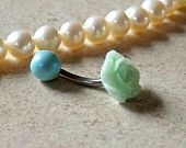 Small Mint Green Rose Belly Ring Navel Ring Stainless Steel Body Jewelry