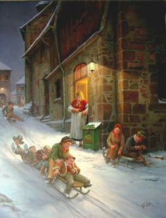 Winter Painting by Gabor Toth, Hungarian Artist Illustration Noel, Winter Illustration, Christmas Illustration, Illustrations, Christmas Scenes, Christmas Carol, Winter Christmas, Christmas Artwork, Christmas Paintings
