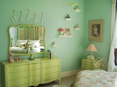 Bedroom is decorated with 8 digital imagery which are sorted in mint green room…