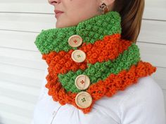 Halloween CowlChunky Scarf Wood Button Cowl by SmilingKnitting, $32.00
