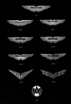 100 years of heritage aston martin logos