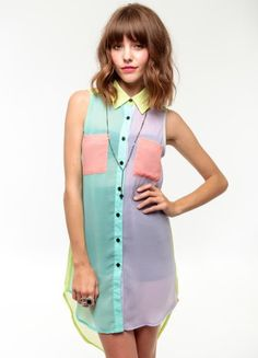 Pastel Colorblocked Top - neon